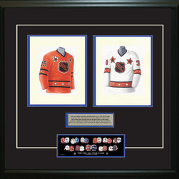 """Heritage Sports Art - Original art of the NHL 1975-76 NHL All-Star jersey - This beautifully framed piece features two pieces of original, one-of-a-kind artwork. Both images are glass-framed in an attractive two inch wide black resin frame with a double mat. The outer dimensions of the framed piece are approximately 28"""" wide x 24.5"""" high, although the exact size will vary according to the size of the original art. At the core of the framed piece is the actual piece of original artwork as painted by the artist on textured 100% rag, water-marked watercolor paper. In many cases the original artwork has handwritten notes in pencil from the artist. Simply put, this is beautiful, one-of-a-kind artwork. The outer mat is a rich textured black acid-free mat with a decorative inset white v-groove, while the inner mat is a complimentary colored acid-free mat reflecting one of the team's primary colors. The image of this framed piece shows the mat color that we use (Medium Blue). Beneath the artwork is a silver plate with black text describing the original artwork. The text for this piece will read: These are original watercolor paintings of both of the 1975-76 NHL All-Star jerseys. These jersey images have been, and continue to be, used to celebrate the history of the NHL All-Star game in posters like the one shown below as well as game programs, magazines and websites across North America. Beneath the silver plate is a 3"""" x 9"""" reproduction of a well known, best-selling print that celebrates the history of the team. The print beautifully illustrates the chronological evolution of the team's uniform and shows you how the original art was used in the creation of this print. If you look closely, you will see that the print features the actual artwork being offered for sale. The piece is framed with an extremely high quality framing glass. We have used this glass style for many years with excellent results. We package every piece very carefully in a double layer of bubble wrap and"""