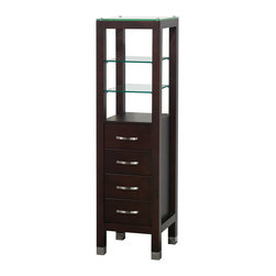 Wyndham Collection - Fiona Bathroom Linen Tower in Espresso with Cabinet Storage and 4 Drawers - The modern Fiona Linen Tower is perfect for your home or office bath. Included are four drawers and two glass shelves, providing ample storage in a clean design.