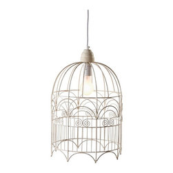 Vintage Chic Large Birdcage Ceiling Pendant Light Fixtures, Set of 2 - This birdcage-turned-pendant is very unique. I like the swirly detailing.