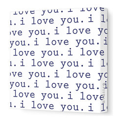 """Avalisa - Imagination - 'I Love You' Stretched Wall Art, Navy, 28"""" x 28"""" - Avalisa Children's Art creates canvas wall art that is modern in style and simple in design."""