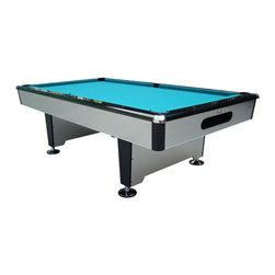Playcraft - Silver Knight 8 ft. Slate Pool Table (Drop Po - Choose Model: Drop PocketsInstallation NOT INCLUDED. Felt Cloth and Playing Equipment Not Included. Assembly Required, Professional Installation Recommended. An affordable, sleek, design statement. Drop pockets model. 3-Piece, 0.75 in. thick Brazilian slate bed - each piece is supported on all 4 sides. Chrome corner caps. Large rounded corner posts. K66 Profile rubber cushions. 6 in. Wide pedestal legs with duck feet levelers. Finished in a gloss laminate. 100 in. L x 56 in. W x 31 in. H (750 lbs.)