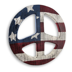 Zeckos - Americana Stars and Stripes Peace Sign Wall Hanging - This custom designed Stars and Stripes wall art is crafted of wood and hand painted in classic Americana colors with an appealing weathered finish. It measures 11 1/8 inches in diameter and easily hangs on the wall using a single nail or screw by the attached saw tooth hanger. This is a great addition to any Americana decor and makes a wonderful gift for any peace sign or Americana Art collector.