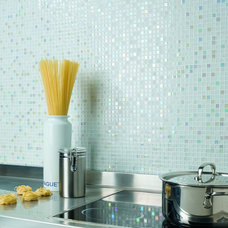 Contemporary Tile Neve by Dune - white stone & glass mosaic on mesh