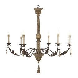 Aidan Gray - Grand Ane Chandelier - This larger than life chandelier will set the tone for even the grandest of rooms. Delicate leaf carvings and iron arms add to the character of this unique piece. Height 45 Width 44 Depth 44
