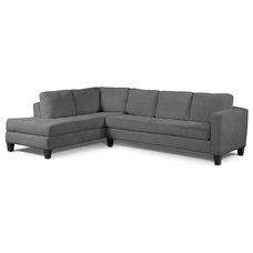 "Milo Fabric Microfiber Sectional Sofa, 2 Piece (Sofa & Chaise) 115""W X 87""D X 27"