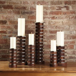 Global Views - Global Views Short Stacked Plate Candleholder - Mixed materials meet in modern refinement on these bold Global Views candleholders. Complementing rich wood, silver stacked plates lend a contemporary shine. Available in three sizes; Nickel accents