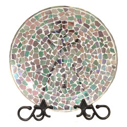 ecWorld - Hand-Painted Artisan Mosaic Stained Glass Decorative Plate - Sporting a pattern inspired by nature herself, this hand-made Glass Decorative Plate showcases a stunning mosaic stained glass pattern that will breathe fresh new life into your decor.