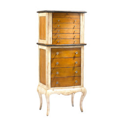 French Heritage - Lilles Armoire a Bijoux - This delicate, shapely armoire is not all fuss and no function — in fact, it's a clever feat in beautiful organization. Slender enough to fit anywhere in your bedroom or vanity, but gorgeous enough that you'll want to display it, this armoire boasts nine drawers, all lined with wall paper, a lift up top with a crystal mirror, and two opening side wings with hooks, for even more elegant storage. This maple and mahogany piece has a classic look with innovative features.