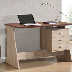 Baxton Studio - Baxton Studio Parallax Sonoma Oak Finishing Modern Writing Desk - Contemporary from top to bottom (and sleekly angled side to side),this discount desk offers an element of the unexpected with its contrasting geometry paired with a two-toned hue.