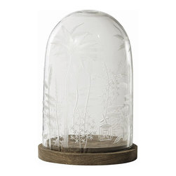 Arteriors - Canton Cloche - This dome is based on a simple garden cloche, but the elaborate hand etching elevates it to elegance and crosses the boundary of East and West. Use it to keep desserts or cheese covered on buffets, or to display treasures on a mantle or table.