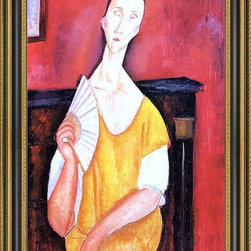 """Art MegaMart - Amedeo Modigliani Madame Lunia Czechowska Fan - 16"""" x 24"""" Amedeo Modigliani Madame Lunia Czechowska with a Fan framed premium canvas print reproduced to meet museum quality standards. Our Museum quality canvas prints are produced using high-precision print technology for a more accurate reproduction printed on high quality canvas with fade-resistant, archival inks. Our progressive business model allows us to offer works of art to you at the best wholesale pricing, significantly less than art gallery prices, affordable to all. This artwork is hand stretched onto wooden stretcher bars, then mounted into our 3 3/4"""" wide gold finish frame with black panel by one of our expert framers. Our framed canvas print comes with hardware, ready to hang on your wall.  We present a comprehensive collection of exceptional canvas art reproductions by Amedeo Modigliani."""