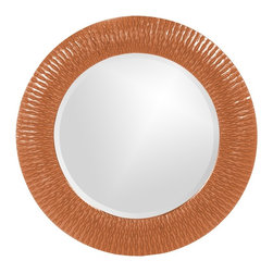 Howard Elliott - Bergman Orange Small Round Mirror - This round, resin mirror is painted in a glossy orange giving the piece textured, starburst effect.