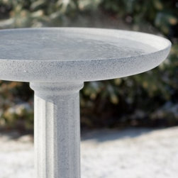 "Allied Precision Heated Kozy Bird Spa Bird Bath with Pedestal - Freezing conditions are no match for the Allied Precision Heated Kozy Bird Spa Bird Bath with Pedestal. The gradually sloping design suits lawns and backyards of any size and it encourages birds to bathe in the generous 17.5-inch-diameter basin. Plug the heated bird bath into any outlet and the water stays warm even in chilly winter months. When the outside temperature falls below approximately 42 degrees Fahrenheit the built-in automatic thermostat engages the heating element to warm the water to approximately 60 degrees. Resilient polymer construction is easy to clean and it withstands climate extremes so all year round birds have a welcoming place to go. Within the bird bath basin the heating element is completely hidden beneath the surface of the bath where it automatically provides birds with an open area for bathing in temperatures as low as -20 degrees Fahrenheit. This heated bird bath also supplies ice-free water all winter long using 150 watts of thermostatically controlled power. Also cleaning your bird bath is a breeze with the KozyBird Patented ""Twist & Tip"" system. Simply turn the bath basin and tip it for quick convenient water changes and cleaning. The bath may be spun off the pedestal so that it can be taken inside for thorough cleaning. Fill the base a quarter full with sand for increased weight and stability. Add your own extension cord for increased range. However due to potential power loss the manufacturer discourages connecting this product to extension cords longer than 15 feet in length. Made in the USA. Dimensions: 17.5 diam. x 24H inches.About Allied Precision IndustriesAllied Precision Industries Inc. specializes in manufacturing quality water heating products. Their product lines include stock tank de-icers heated pet bowls bird baths pond de-icers heated pet beds and more. Allied is located near Chicago in Elburn Ill."