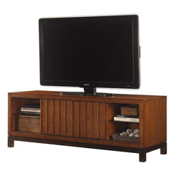 Lexington - Tommy Bahama Home Ocean Club Intrepid Media Console - The vertical slats of the two sliding doors create visual balance with the four adjustable shelves and allows the viewer to choose what is exposed.