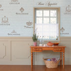 Café Royale Lettering Stencil Set - Typography and lettering stencil: French Cafe Royale Wall Stencil Set. Create the ambiance of a French cafe in any room with this unique lettering stencil set. Includes our French Menu wallpaper stencil pattern, as well as individual word labels in varying font scripts and French Motifs such as a fleur de lis, crown, and laurel leaf garland.