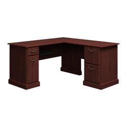 "Bush - Bush Syndicate 60""W x 60""D L-Desk in Harvest Cherry Finish - Bush - Home Office Desks - 6330CS03K"