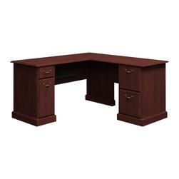 "BBF - Bush Syndicate 60""W x 60""D L-Desk in Harvest Cherry Finish - Bush - Home Office Desks - 6330CS03K"