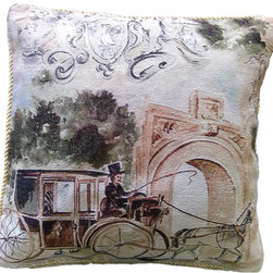 Tache Home Fashion - Tache Afternoon Stroll 18 x 18 Inch Throw Cushion Cover, 18 X 18 Inches, 2 Piece - Take a Stroll in this fancy and beautiful carriage! Commemorate this event with this Parisian Styled cushion cover