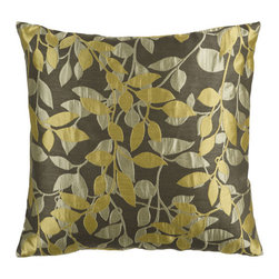Surya Rugs - Dusky Green Olive Gray and Split Pea Leaf Pattern 22 x 22 Pillow - Covered in a subtle leaf design this pillow brings a little something extra to your room. Colors of pewter yellow and beige accent this decorative pillow. This pillow contains a poly fill and a zipper closure. Add this 22 x 22 pillow to your collection today.  - Includes one poly-fiber filled insert and one pillow cover.   - Pillow cover material: 100% Polyester Surya Rugs - HH060-2222P