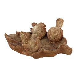 Stoneware Bird Feeder w/ 3 Birds on a Leaf - Matte Tan - *Stoneware Bird Feeder with 3 Birds on a Leaf Matte Tan