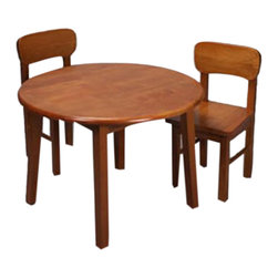 Gift Mark - Gift Mark Home Kids Natural Hardwood Round Table And Chair Set Honey Finish - The Gift mark Table and 2 Chair Sets are Made of Solid Wood. These Durable Table and Chair Sets will add a touch of sophistication to any child's room or Play Room. Intended specifically for your Child. Children Play for Hours on end. Our Solid Wood Table and Chair Sets clean easily with any High Quality Furniture Polish. All Tools Included for Assembly.
