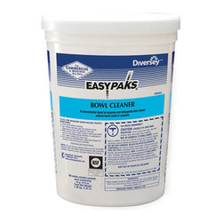DIVERSEY, INC - C-EASY PAKS BOWL CLEANE   2/90 PACKS - Specially formulated enzyme/detergent blend attacks organic waste and urinary salts without harsh acids or caustics. Will not harm plumbing. Pleasant fragrance. Premeasured 1/2-oz. packet dissolves completely in water. NSF C1 Registered. 90 packets per tub. 2 tubs per case.. . . . . . 2 Tubs per Case. 90 Packets per Tub. Easy Paks® Bowl Cleaner. Dimensions: Height: 1, Length: 0.3, Width: 1. Country of Origin: US