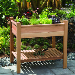 Phat Tommy Elevated Brown Planter Box - An elevated planter box is just what I need — no more bending down! I love the extra storage shelf below that can hold your gardening gloves and tools.