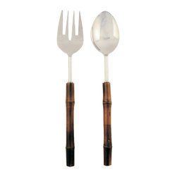 Be Home - Bamboo Salad Server Set - Get your greens in a really great way. The stainless steel fork and spoon have handles made of bamboo, one of the fastest growing plants on the planet. That means it produces more oxygen than a hardwood forest of comparable size, and prevents erosion.