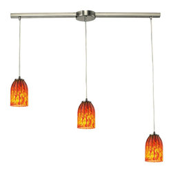 Elk Lighting - Caliente Linear 3-Light Chandelier in Satin Nickel - This 3 light mini pendant by ELK Lighting is offered in a satin nickel finish. Illuminated by three 100-watt frosted incandescent bulbs. Caliente Collection 3 light chandelier in satin nickel
