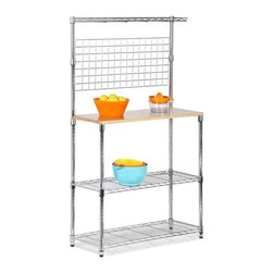 Honey-Can-Do Int. - Chrome 2-Shelf Baker's Rack - Bakers Rack With Storage Chrome and Wood Cutting Board. Brilliant chrome finish and contemporary design makes this unit the perfect blend of good looks and functionality. Its sturdy commercial quality frame has two thick grid-style adjustable wire shelves a solid maple cutting surface and a bonus top rail for spices. Features an easy no tool assembly open wire design for easy cleaning and leg levelers for use on uneven floors. Instantly create additional space and organization to your kitchen. Size: 36W x 14D x 61H InchesColor: ChromeAssembly required.