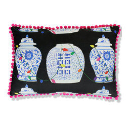 Holiday Ginger Jar Pillow - Blue and white Chinese porcelain draped with Christmas lights and trimmed in neon pink pom-poms make a great pillow for the holiday season.