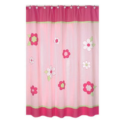 "Sweet Jojo Designs - Flower Pink & Green Shower Curtain - The Flower Pink & Green Shower Curtain is a great way to make over your child's bathroom. Add a designer's touch and some fun colors to your bathroom with this lovely Shower Curtain.  The Shower Curtain measures 72"" x 72"" and is machine washable. Shower hooks and liner are not included."