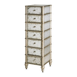 Currey & Co - Currey & Co 4212 Harlow Silver Leaf 7-Drawer Tall Dresser - The Currey & Co 4212 Harlow silver leaf 7-drawer tall dresser provides the perfect way to add a decorative touch and a little extra storage, especially in small spaces. This 7 drawer wood dresser measures only 15 inches wide and 49 inches high and features an attractive antique mirror with accents made from silver leafed bamboo for a stunning finish. It is the perfect accompaniment for any decor.