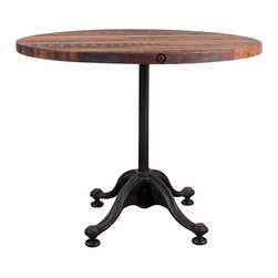 Nuevo Living - V42 Round Bistro Table, Large - Your sensual style eschews hard corners and sharp angles — which is why this retro-chic bistro table belongs in your small dining space. Its curvy yet sturdy cast iron base and top of reclaimed wood create a vibe of intimacy and warmth.