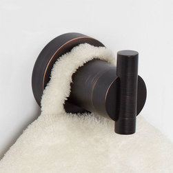 Aylett Robe Hook - The Aylett Collection Robe Hook is a simplistic way to help organize your bathroom or linen closet. Perfect for hanging robes and towels, its beautifully sleek shape brings a touch of modern elegance.