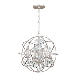 Joshua Marshal - Solaris Four Light Olde Silver Up Mini Chandelier - Four Light Olde Silver Up Mini Chandelier