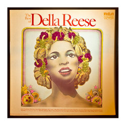 "Glittered Della Reese Best Of Album - Glittered record album. Album is framed in a black 12x12"" square frame with front and back cover and clips holding the record in place on the back. Album covers are original vintage covers."