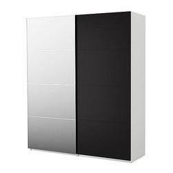 IKEA of Sweden - PAX Wardrobe with sliding doors - Wardrobe with sliding doors, white, Malm mirror/black-brown