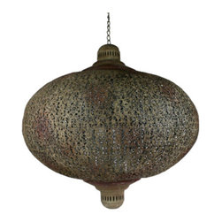 Tangier Rust Iron Lantern in Large - Tangier Rust Iron Lantern in LargeTangier Rust Large Iron Lantern hand-forged iron lantern. Intricately etched with Moroccan motifs. Traditional style. Material: Iron Rust finish