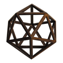 """Inviting Home - Platonic Figure - Water - Platonic figure - water; 9-1/4"""" x 9-1/4"""" x 7-1/2""""H; The Element - Water; a Platonic figure of 20 triangles (icosahedron). From delicate pieces of wood skilled craftspeople hand construct these fragile forms truly resembling the beauty and harmony of nature's perfection."""