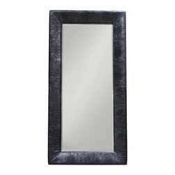 Diamond Sofa - Diamond Sofa Zen Accent Floor Mirror Wrapped in Black Croc - Stunning 84 inch rectangle mirror from the Zen collection by Diamond  sofa. Black Croc patterned wrapped frame adds style and substance of any room. Bring a corner of your home to life with this beautifully sculpted piece of furniture that will add beauty and depth to your home's decor.