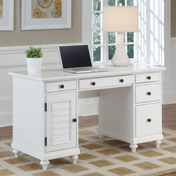 Home Styles - Home Styles Bermuda Brushed White Pedestal Desk - 5543-18 - Shop for Desks from Hayneedle.com! The simplified British colonial design of the Home Styles Bermuda Brushed White Pedestal Desk provides a historic yet up-to-date look that s suitable for any decor or home office. Turned bun feet and antiqued brass floral-style drawer knobs are complemented by a shutter-style storage door for a touch of tropical ease. There s plenty of dedicated and multi-purpose storage inside including a center drop-down drawer for your keyboard tray three storage drawers a large file drawer and a storage shelf behind the door that can be removed to create a discreet PC tower storage area (cable access openings are included).About Home Styles?Home Styles is a manufacturer and distributor of RTA (ready to assemble) furniture perfectly suited to today's lifestyles. Blending attractive design with modern functionality their furniture collections span many styles from timeless traditional to cutting-edge contemporary. The great difference between Home Styles and many other RTA furniture manufacturers is that Home Styles pieces are crafted from solid wood and feature quality hardware that will stand up to years of use. When shopping for convenient durable items for the home look to Home Styles. You'll appreciate the value.