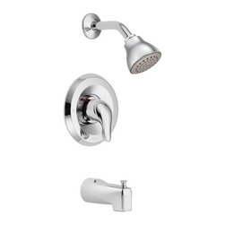 """Moen - Moen L2353 Chrome Chateau Single Handle Posi-Temp Pressure Balanced - Product Features:Covered under Moen s limited lifetime faucet warrantyPremier finishing process - finishes will resist corrosion and tarnishing through everyday useThe ever popular Chateau Collection features soft, clean curves with modern, rounded stylingDesigned for reliability, safety and sophisticated style, Moen has set the standard for quality and innovation throughout the industrySingle function shower headSingle function cartridge - one handle controls both volume and temperatureCartridge Type: 1222 Cartridge designTub and Shower Package Includes: Valve trim, shower head, shower arm and tub spoutDesigned to easily install with standard U.S. plumbing connectionsADA compliantAll hardware required for installation is includedProduct Technologies / Benefits:Posi-Temp  Valve: A pressure balancing valve that maintains water temperature within 3- F. Built-in temperature limit stops allow you to control how far the handle rotates, in effect controlling the range of water temperature. The Posi-Temp  offers the best water flow available for any comparable valve.Different Types of Valve Inlet Connections (All Connection Types Might Not Be Available For This Model):Valve Trim Specifications:Temperature dial swings 120-degreesEscutcheon (Cover Plate) Diameter: 6-1/2""""Includes pre-set safety stop with override capabilityComplete with rough-in valve systemShower Head Specifications:Single function shower head with full body spray patternShower head rotates 360-degrees on a swivel ball assemblyFlow Rate: 2.5 GPM (gallons-per-minute)Sho"""