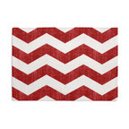 Red & White Chevron Custom Placemat Set - Is your table looking sad and lonely? Give it a boost with at set of Simple Placemats. Customizable in hundreds of fabrics, you're sure to find the perfect set for daily dining or that fancy shindig. We love it in this graphic chevron in a washed berry red & ivory on lightweight linen adds a punch of color to the contemporary home.