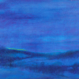 Snowy Blue Nocturne (Original) by Judith Cheng - Poetic landscape evoking the world of dreams & celebrating the beauty of natural forms. The atmosphere quality is created thru built ups of color tonalities with layering of oil washes & glazes.