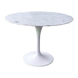 George Nelson - Tulip Round Dining Table in White - Spectacular Tulip round dining table is a classic modern design that will never go out of style.  Sturdy painted cast aluminum base features a glossy white finish to beautifully enhance the smoothly polished genuine marble top.  Great for kitchen, dining, or game room. Designed by Eero Saarinen. Round polished marble top. Cast aluminum base. Assembly required. 47 in. Dia. X 28.37 in. H (120 lbs.)This stunning tulip reproduction table is constructed from molded, cast aluminum base with thick marble top. It is a timeless classic piece. Add a modern elegance with this side table. This mod table is reproduced with quality material compared with the original mid-century design of Eero Saarinen. Providing a timeless look in any dining room space.