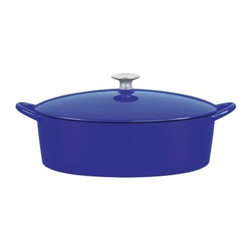 Mario Batali by Dansk Classic 6 qt. Oval Dutch Oven - Blue - The oval shape of this Mario Batali by Dansk Classic 6 Sq. Oval Dutch Oven in Blue seems to give you bit more space to add all your tasty ingredients. Use it to simmer, boil, broil, and roast. It wraps all the goodness of cast iron in cobalt blue enamel that adds a pop of color to your kitchen. Don't baby it -- this is one cast iron Dutch oven that doesn't need to be seasoned and can even be tossed into the dishwasher! It's also perfectly safe on your gas, electric, induction, or ceramic-top stove and comes with a lifetime warranty. Pretty and smart!