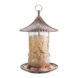 Hiatt Manufacturing - High Capacity Feeder - The High Capacity Feeder has a decorative glass seed chamber embossed with a butterfly and a beautiful brushed copper roof and base. The perching tray is large with room for multiple birds to feed at once. It holds 2.3 qts (approx. 2.9 lbs) of seed.