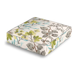 Aqua & Gray Watercolor Floral Box Floor Pillow - Extra seating that is so good looking you won't want to store it away.  Our Box Floor Pillow is perfect for your next coffee table dinner party, fire place snuggle session, or playroom sleepover.  We love it in this gray, aqua & spring green watercolor floral. your room will be awash with color & class.