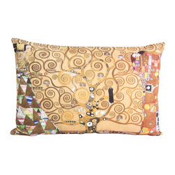Poetic Pillow - Gustav Klimt Tree of Life Pillow - Transform any space with a pillow from Poetic Pillow. Each pillow is inspired by fine works of art and printed on the front and back.   Covers are made of pre-shrunk satin-like polyester fabric. All seams are finished to prevent fraying and pillow covers have a knife edge finish.. A concealed zipper allows for ease of inputting pillow inserts.  A duck feather insert is included for soft yet supportive feel.  Cushion inserts are encased in a cotton cover and filled with 100% duck feather.  All research, design and packaging is completed in Oakland, California.